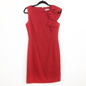 Calvin Klein Red Dress with Ruffle Shoulder Size 6